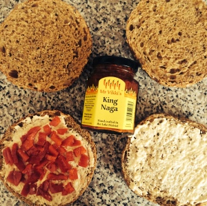 Humous & sweet peppers on the buns, and Mr Vikki's King Naga conserve