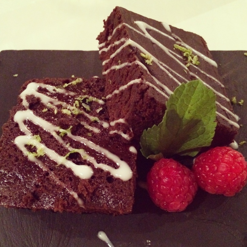 Chocolate, lime & sea salt brownie drizzled with coconut cream
