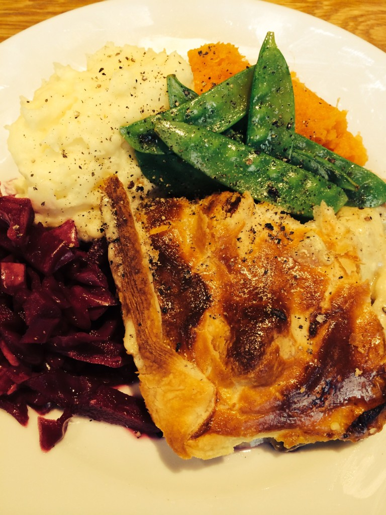 Jodie's Chicken & Mushroom Pie served with cheesy mash, sweet potato mash, buttered mange-tout and pickled red cabbage. YUM!