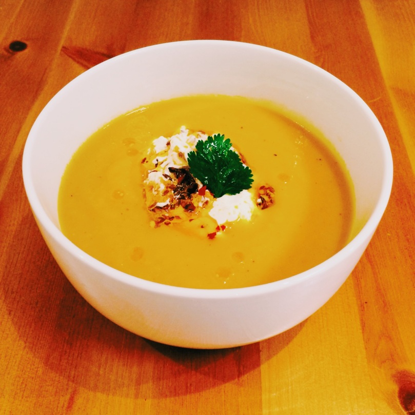 Spiced Carrot & Parsnip Soup with Chilli and Yogurt Topper
