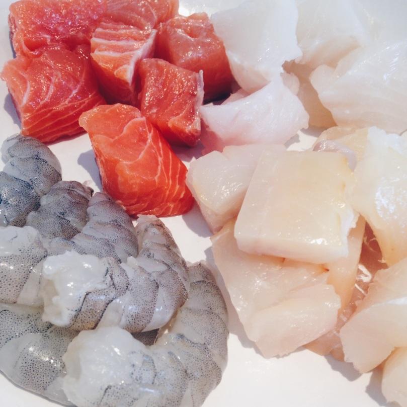 Jumbo King Prawns, Scottish Salmon, Cod and Smoked Haddock