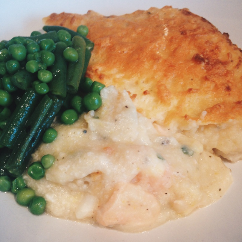 Sophie's Ultimate Fish Pie Served with Buttered Greens