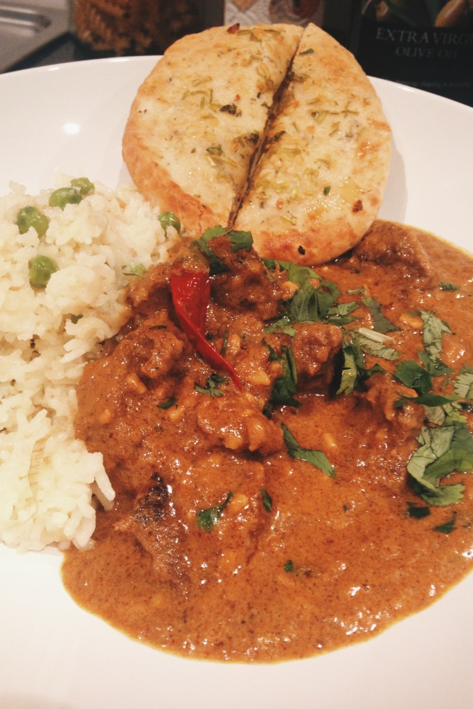 Coconut & Cinnamon Beef Curry with Saffron and Pea Rice