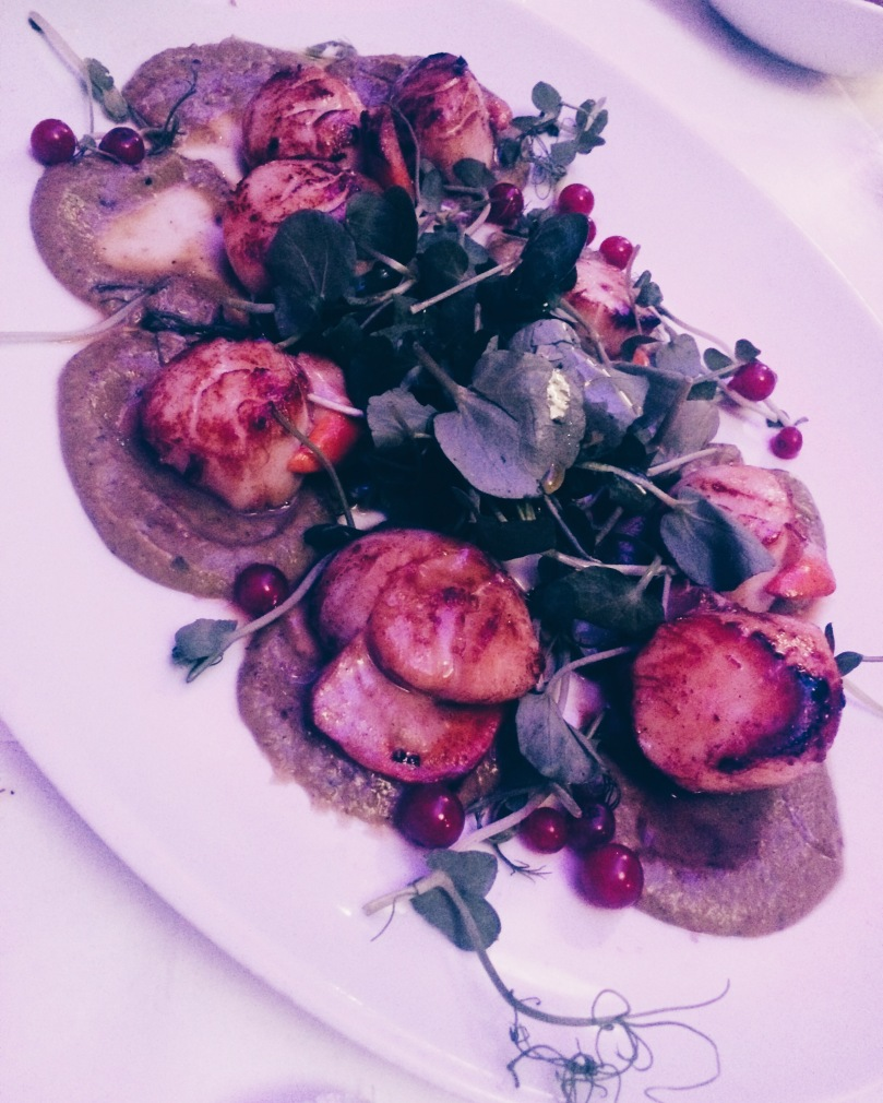 Capesante Casereccie: King Scallops with Pea Puree, Pea Shoots, Red Chilli and Red Currants