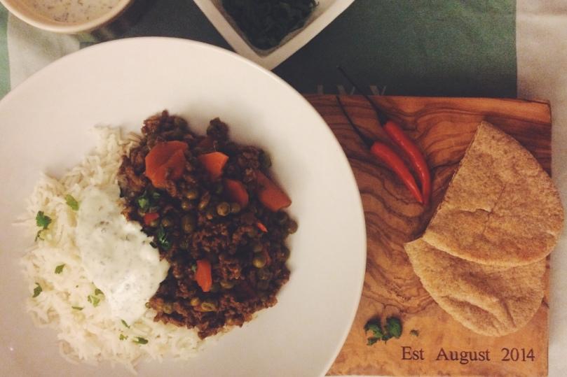 Beef Keema Curry served with mint yogurt and steamed basmati rice