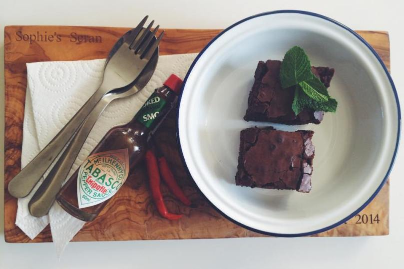 Cinnamon & Smoked Chilli Chocolate Brownies with Tabasco Chipotle