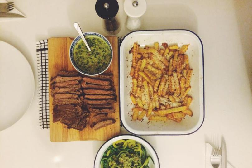 Flat Iron Steak with Tabasco Jalapeno Chimichurri, Spiralized Courgetti & Parmesan dusted chips