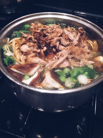 Once you add the pak choi, noodles and duck to the broth just bring it back to the boil then it's ready to serve!