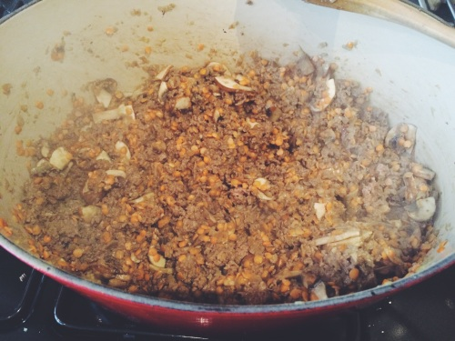 Lean beef mixture cooking, with the lentils and mushrooms just added