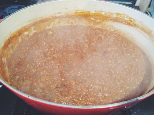 The Bolognese ragu after 40 minutes, add a splash of hot water if the sauce is too thick