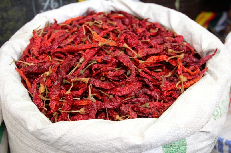 Dried Chillies for sale in the market <3